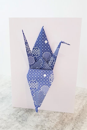 The Blues #2 - Paper Crane on white card