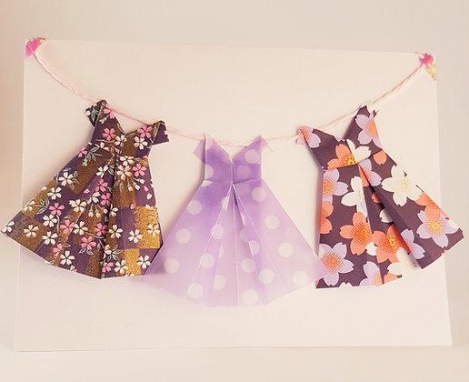 Three dresses on the line - purple theme