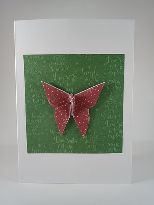 Christmas Card - red Xmas butterfly on green Xmas square on White card