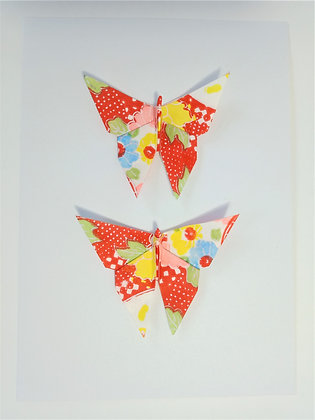 card- twin vertical red abstract floral print butterflies