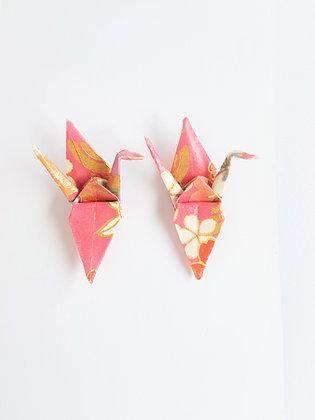 Mini crane stud earrings - pink oriental floral