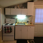 Quaint Cottage D, Kitchen withh fridge, stove, microwave, coffeemaker