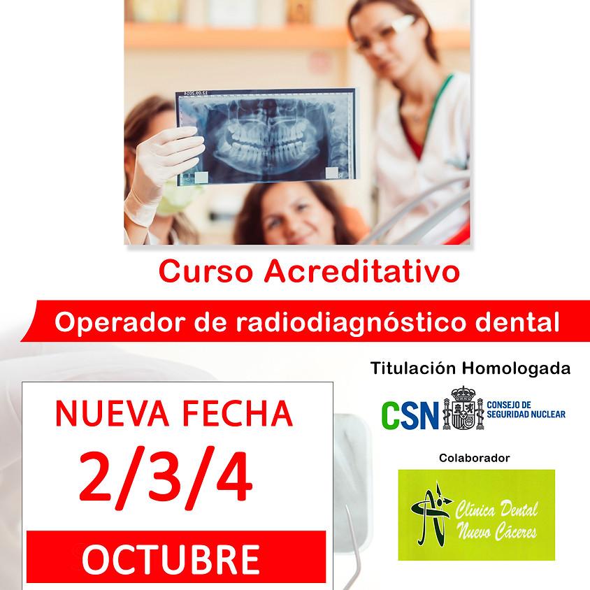 NUEVA FECHA Curso acreditativo homologado Operador de radiodiagnóstico dental