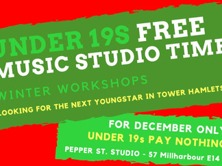 FREE STUDIO TIME FOR UNDER 19's IN DECEMBER