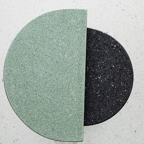 Double Green & Black Semi Circle Coffee Tables