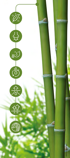 BENEFITS OF BAMBOO FABRIC  Bamboo Fabric is an amazingly sustainable and eco-friendly material that requires only a third of the water to grow, and no pesticides or fertilizers to maintain. Not only is it the fastest growing plant in the world, bamboo regrows easily and even helps rebuild eroded soil.