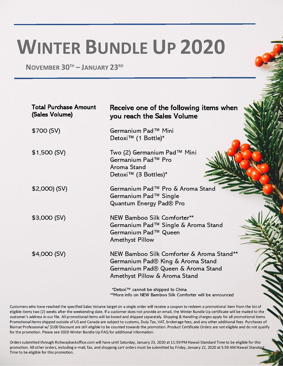 Richway Winter Bundle Up 2020 Promotion. New Distributor Promotions and Win a Free Mini BioMat Draw on Now. Enter your name in the draw at The BioMat eStore or BioMat Canada