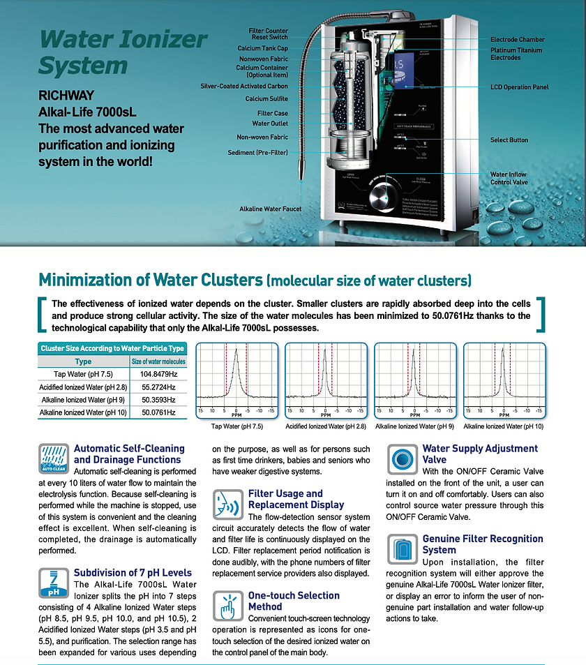 Water ionizer system by richway. Richway Alkal-life 7000dsL the most advanced water purification and ionizing system in the world. The effectiveness of ionized water depends on the cluster. Smaller clusters are rapidly absorbed deep into the cells and produce strong cellular activity. The size of the water molecules has been minimized to 50.076 Hz thanks to the technologic al. apability that only the alkal-life 7000sL possesses