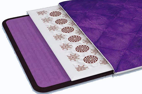 BioMat Amethyst Cushion- This cushion is comfortable and portable and contains 17 rows of amethyst crystal underneath a soft cotton washable micro fiber cover. The BioAmethyst cushion is not electrical, but the crystal rows can be warmed up with body heat and/or activated using any size BioMat.