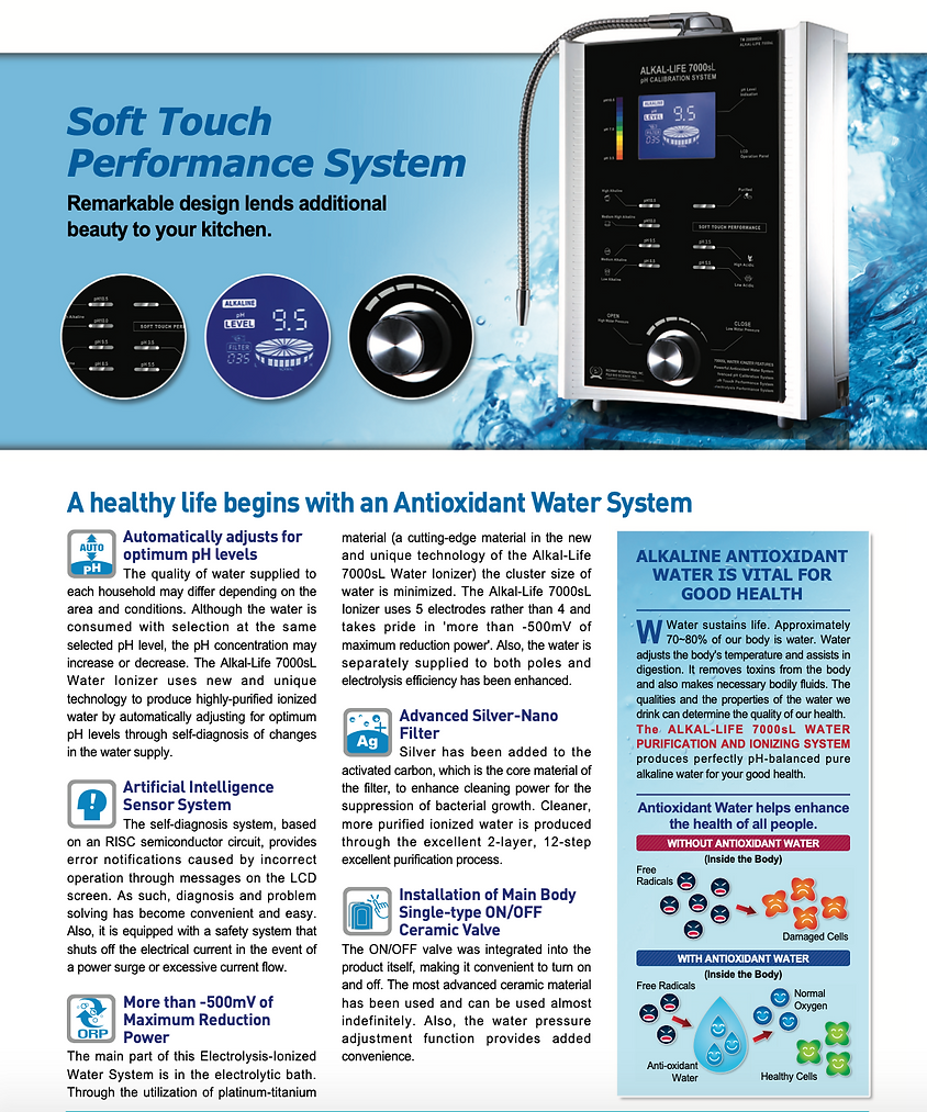 Richway Alkal-life water system has a soft touch performance system- remarkable design lends additional beauty to your kitchen- A healthy life begins with an antioxidant water system
