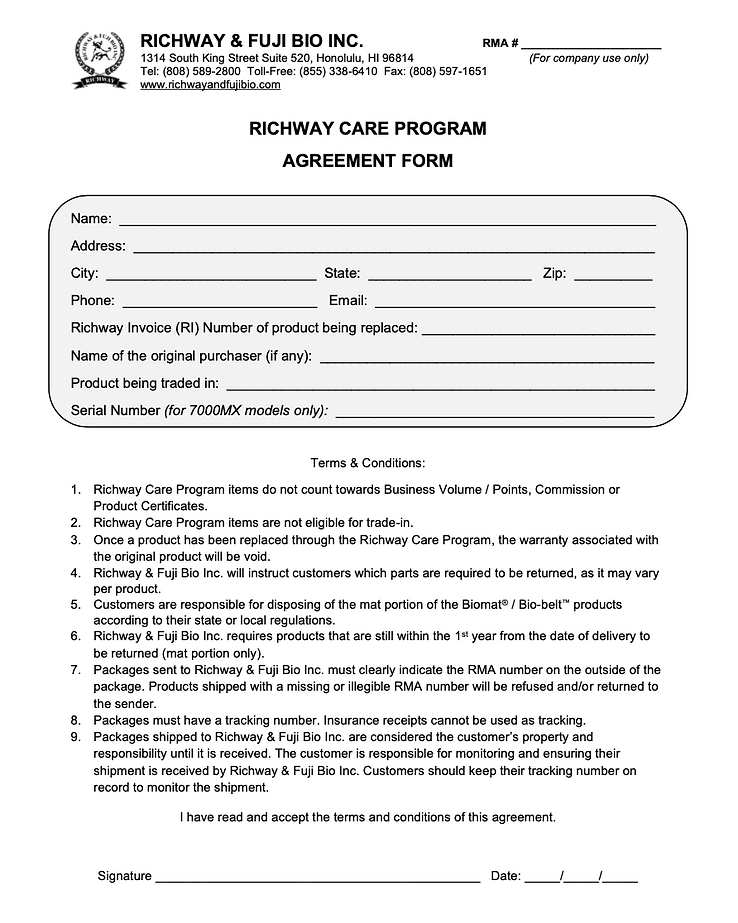 The Richway care program is a new program intentended to provide convenient warranty service for your BioMat or BioBelt products. If the crystals are leaking from your bioMat, the Richway customer care program is for you.