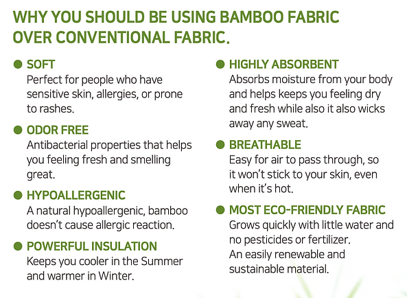 Why you should be using bamboo fabric over conventional fabric- Soft, Odor Free, Hypoallergenic, powerful insulation, highly absorbent, breathable, most eco-friendly fabric