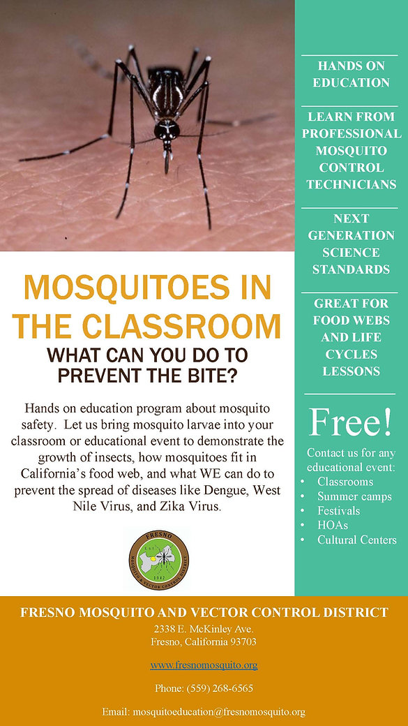 Infomration aboutus hosting a mosquito outreach event.