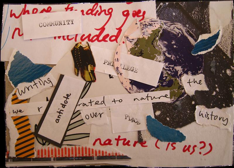 Community, antidote, privilege, place, 2020, collage, Zora in collabraton with Saskia