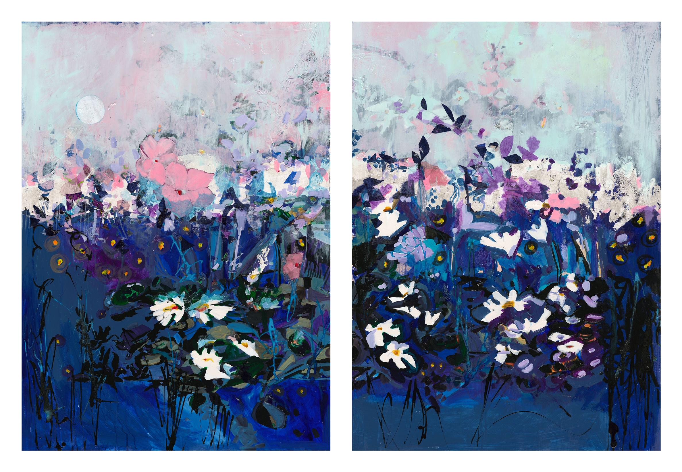 Moonlight & Fireflies on 2 panels