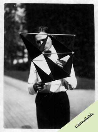 Man Holding Graham Bell's Tetrahedral Kite