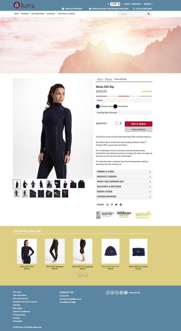 kora e-commerce website - product detail