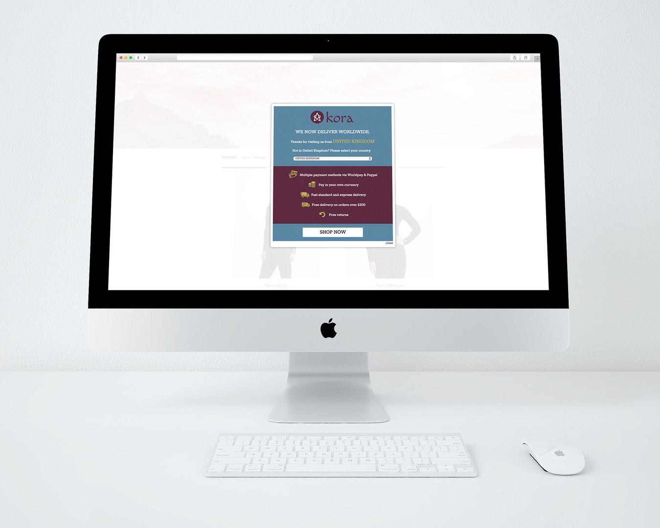 kora e-commerce website - region popup