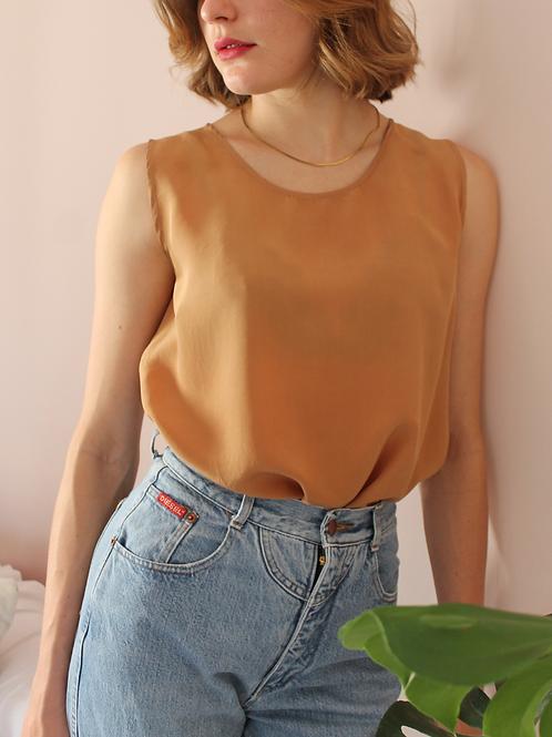 90s Vintage Silk Top in Brown- (EU42-44)