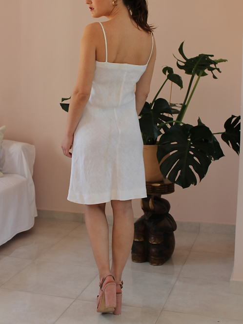 Vintage Slip Linen Dress in White (EU36)