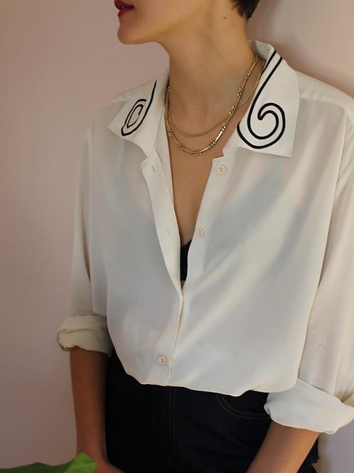 90s Vintage Minimal Button Up Shirt in White