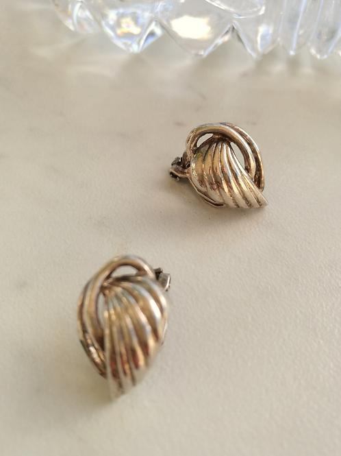 Vintage Silver Pleated Leaf Earrings