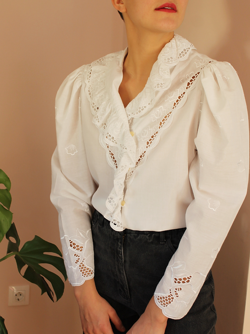 Vintage 90s Ruffle Collar Blouse in White