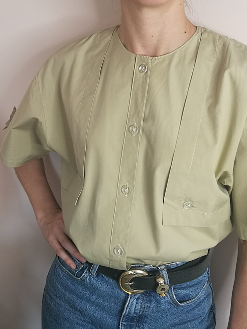 Vintage Minimal Button Up Blouse in Pistachio Green