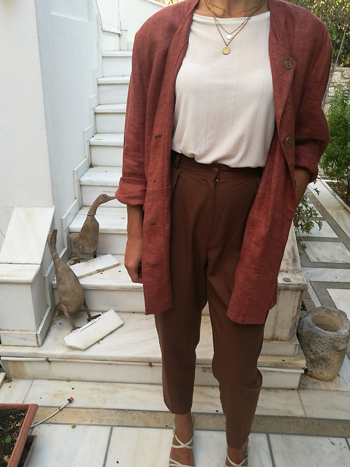 Vintage Oversized Linen Blazer in Brown