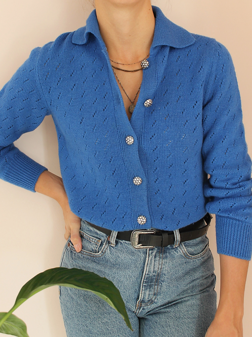 Vintage Hand Knitted Cardigan in Blue