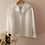 Thumbnail: Vintage Button Up Blouse in White with Embroidered Collar