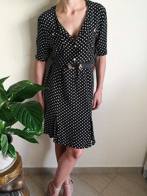 Vintage Silk Polka Dot Dress in Black