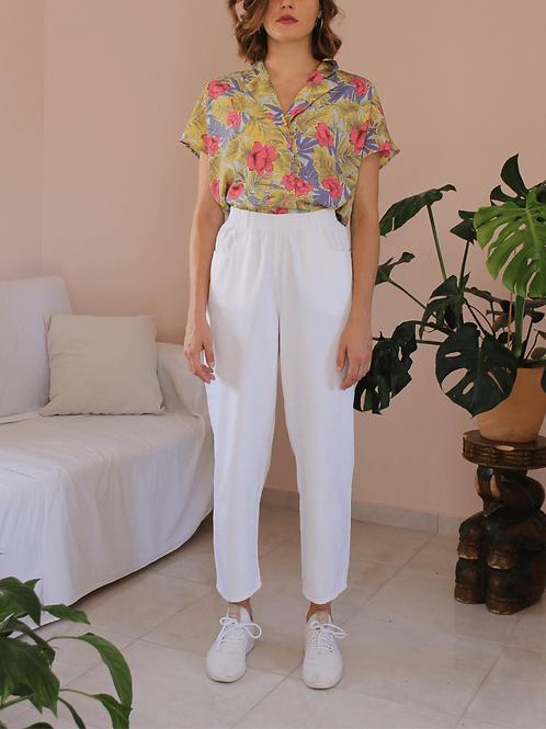 90s Vintage White Cotton Trousers - (EU40-42)