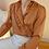 Thumbnail: Vintage Ruffle Collar Blouse in Caramel Brown