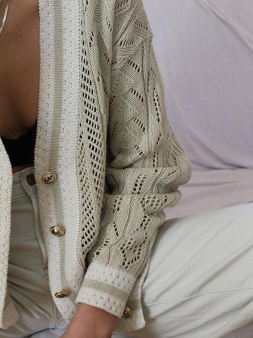 90s Italian Vintage Pointelle Knit Cardigan in Cream