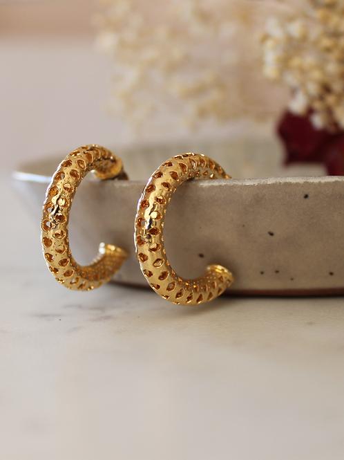 Vintage 70s Gold Plated Hoop Earrings