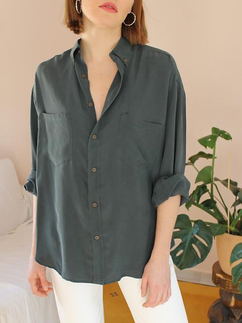 90s Vintage Silk Shirt in Dark Green - (EU48)