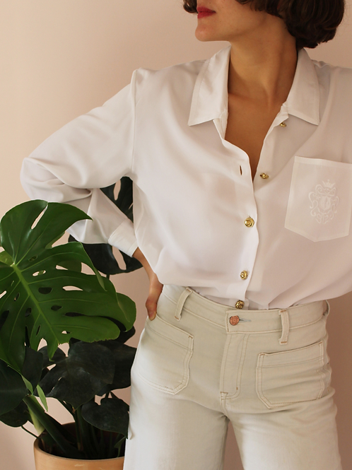 Vintage Minimal Button Up Blouse in White with Gold Buttons