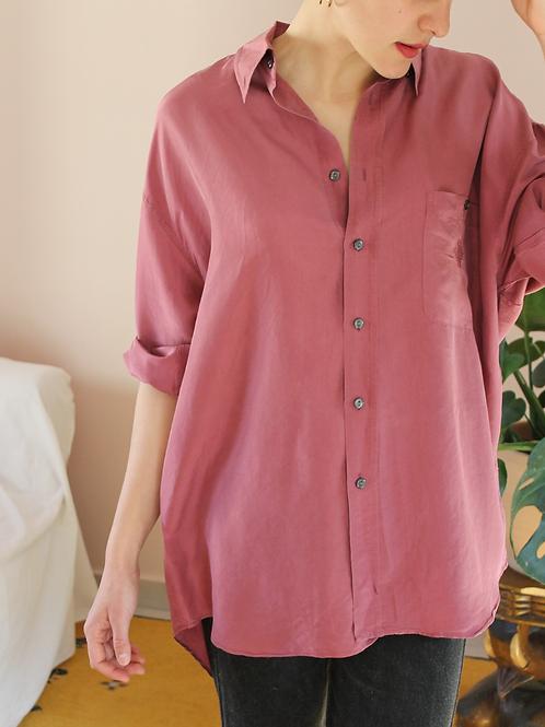 90s Vintage Silk Shirt in Rouge Pink