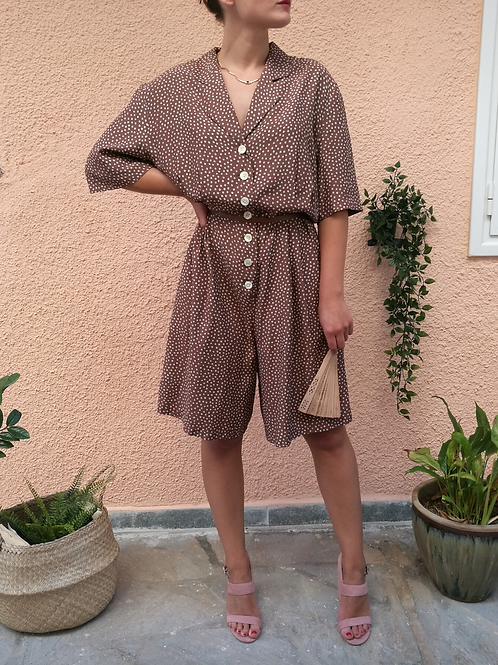 Vintage Polka Dot Playsuit in Brown and White