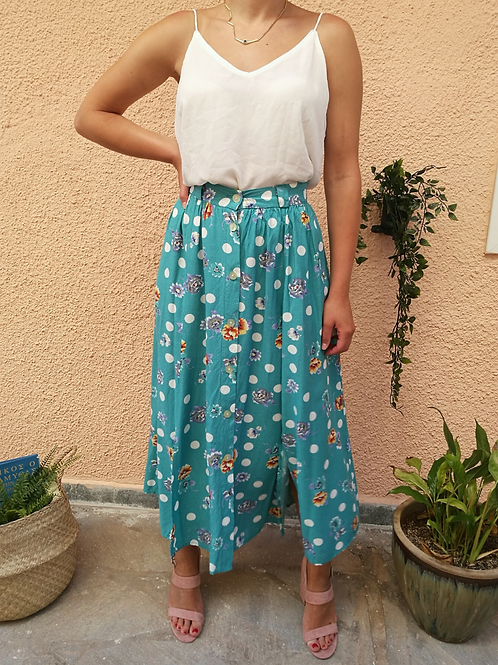 Vintage Buttoned Up Maxi Skirt in Turquoise with Floral print