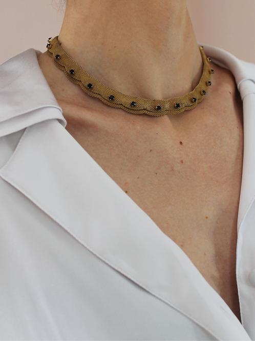Vintage 80s Mesh Chain Necklace with Garnet Rhinestones