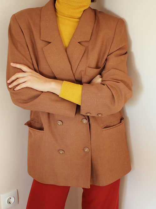 Vintage Double Breasted Blazer in Caramel Brown