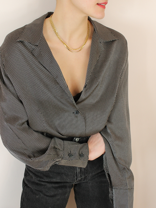 Vintage 90s Silk Button Up Blouse in Black Print