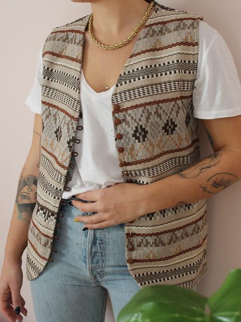 Vintage 90s Handwoven Vest in Beige tones