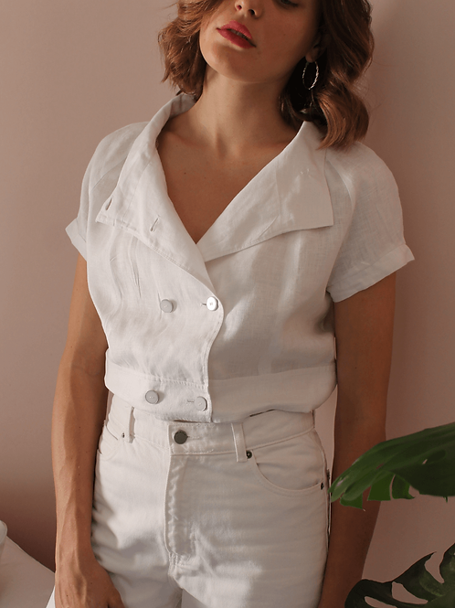 90s Vintage Linen Blouse in White - (EU44)