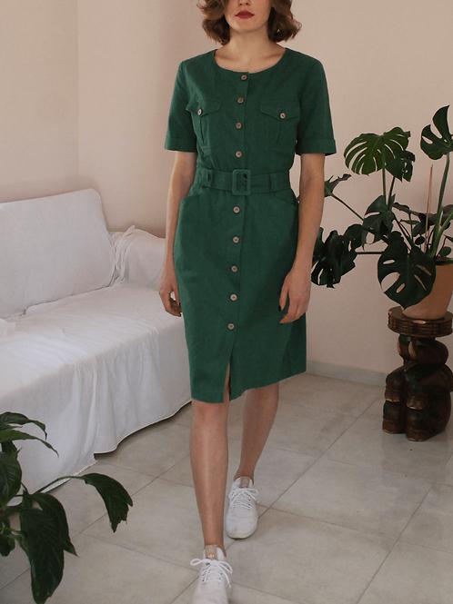 90s Vintage Green Linen Dress- (EU40-42)