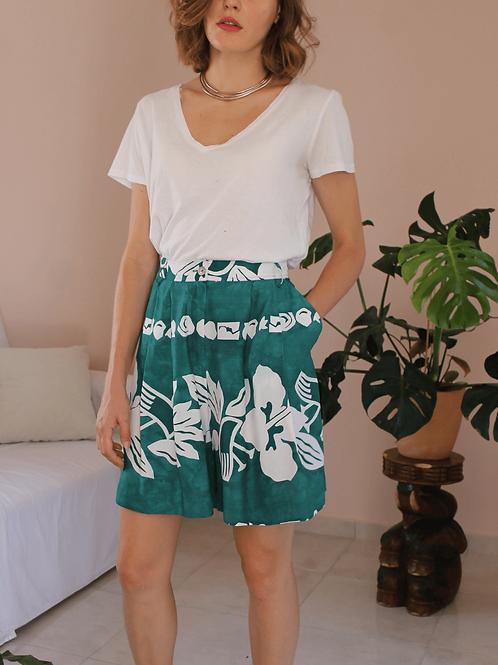 90s Vintage Floral Green Shorts ( EU 44)