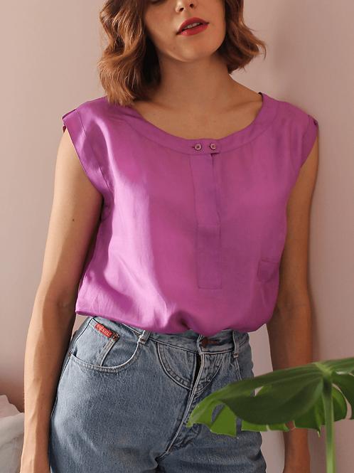 90s Vintage Silk Top in Purple - (EU44)