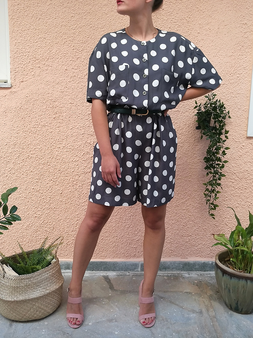 Vintage Polka Dot Playsuit in Blue and White